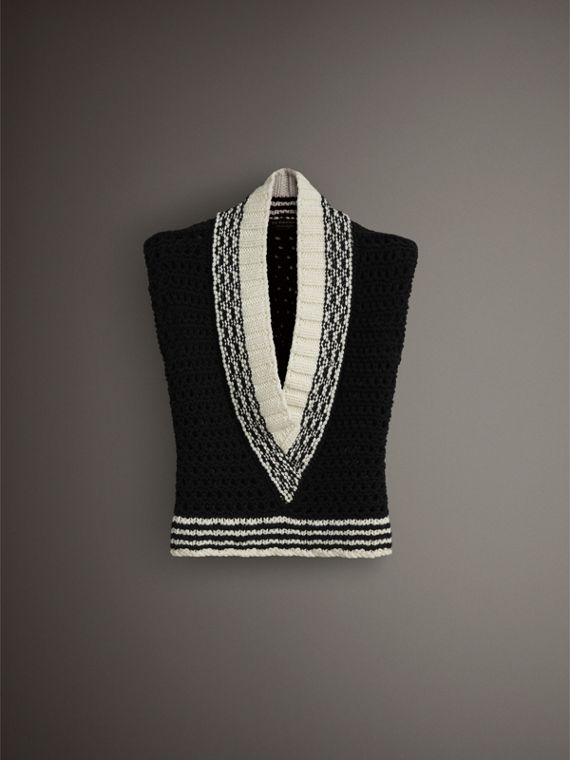 Cap-sleeve Knitted Wool V-neck Tank Top in Black/white - Women | Burberry United Kingdom - cell image 3