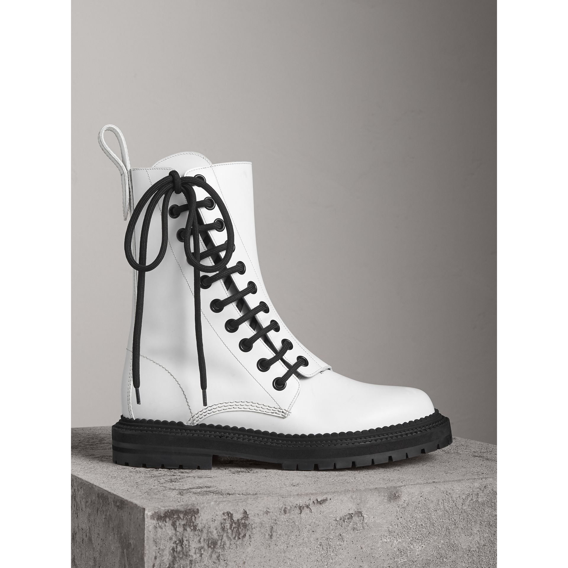 Leather Asymmetric Lace-up Boots in Optic White - Women | Burberry Australia - gallery image 1