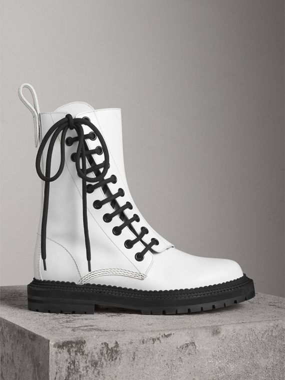 Leather Asymmetric Lace-up Boots in Optic White