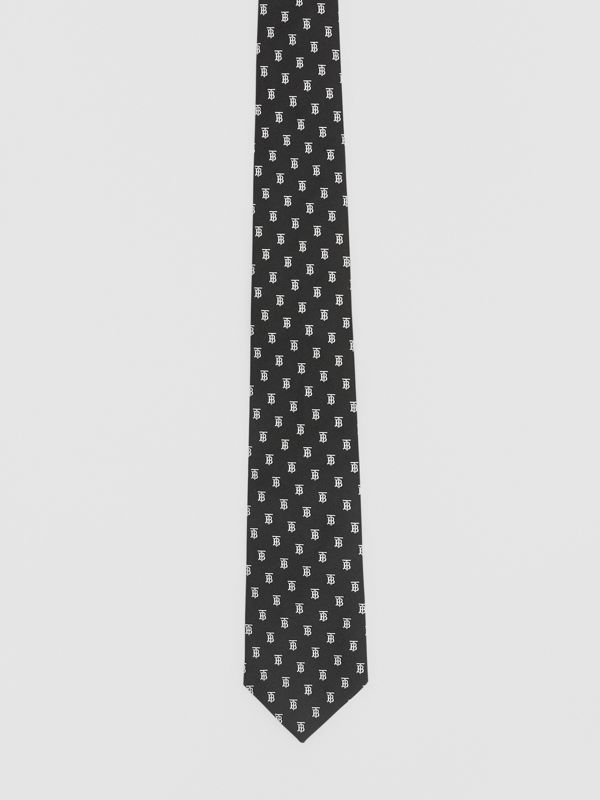 Classic Cut Monogram Motif Silk Jacquard Tie in Black - Men | Burberry - cell image 3