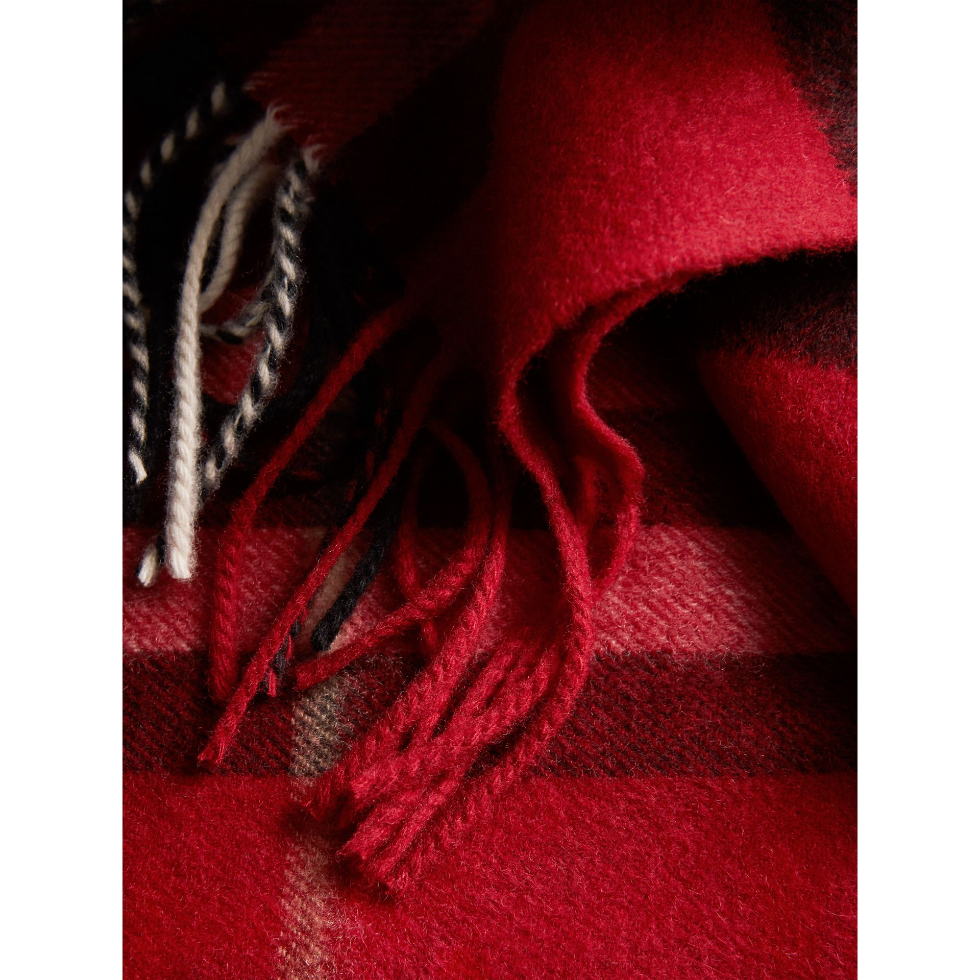 The Classic Check Cashmere Scarf in Parade Red | Burberry - gallery image 4