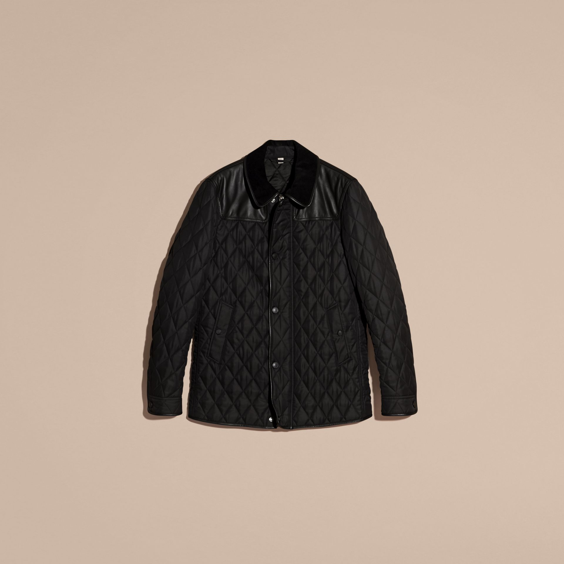 Black Lambskin Yoke Diamond Quilted Jacket - gallery image 4