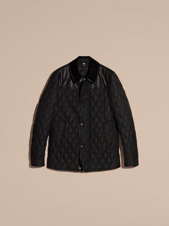 Black Lambskin Yoke Diamond Quilted Jacket - cell image 3