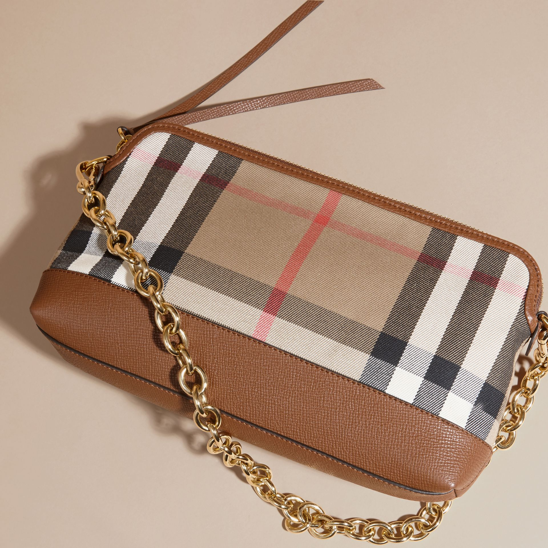 House Check and Leather Clutch Bag in Tan - gallery image 7