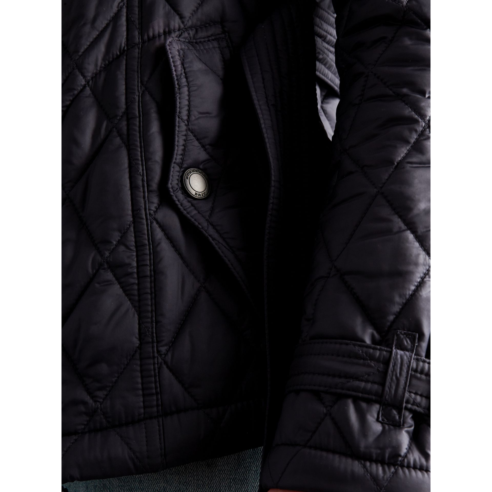 Quilted Trench Jacket with Detachable Hood in Ink - Women | Burberry - gallery image 2
