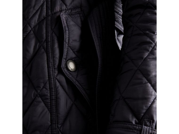 Quilted Trench Jacket with Detachable Hood in Ink - Women | Burberry - cell image 1