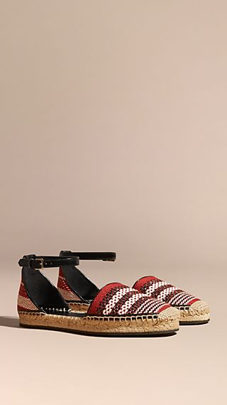 Striped Linen Blend Espadrille Sandals