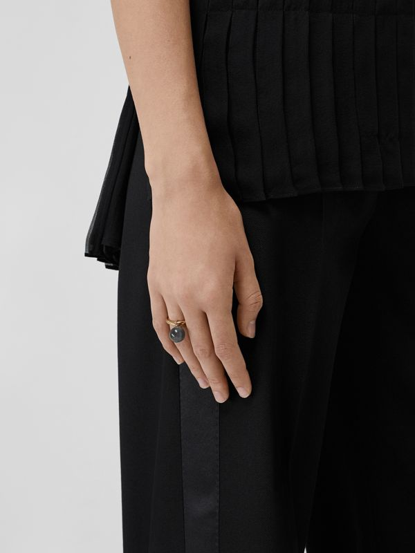 Marbled Resin Gold-plated Ring in Light Gold/midnight - Women | Burberry - cell image 2
