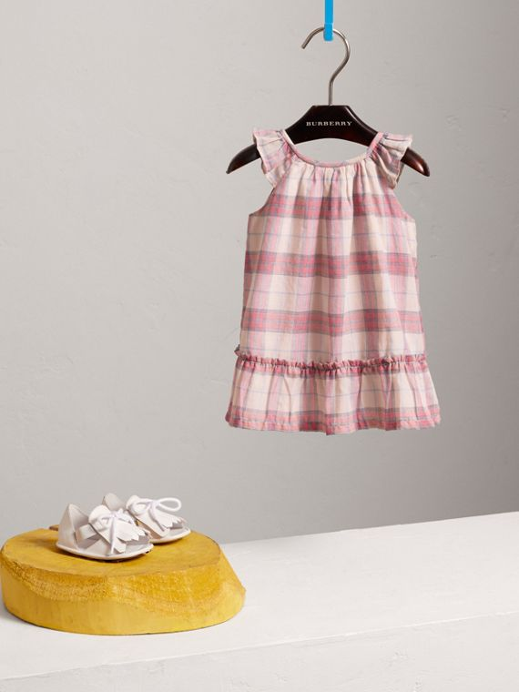 Gathered Check Cotton A-line Dress in Bright Coral Pink