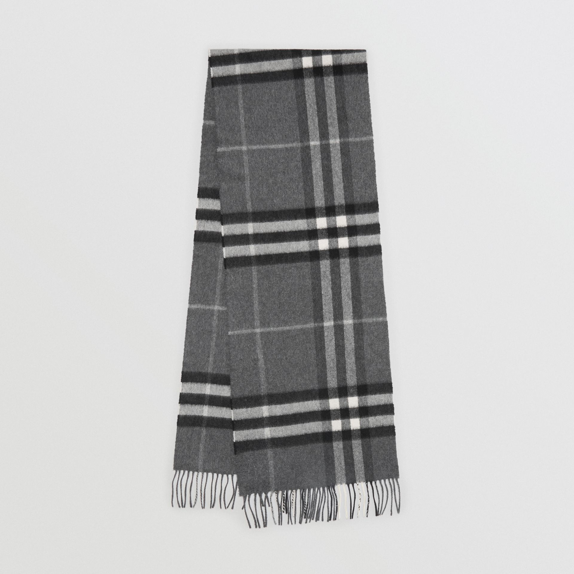 The Classic Check Cashmere Scarf in Mid Grey | Burberry United Kingdom - gallery image 0