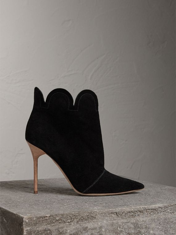 Scalloped Suede Ankle Boots in Black