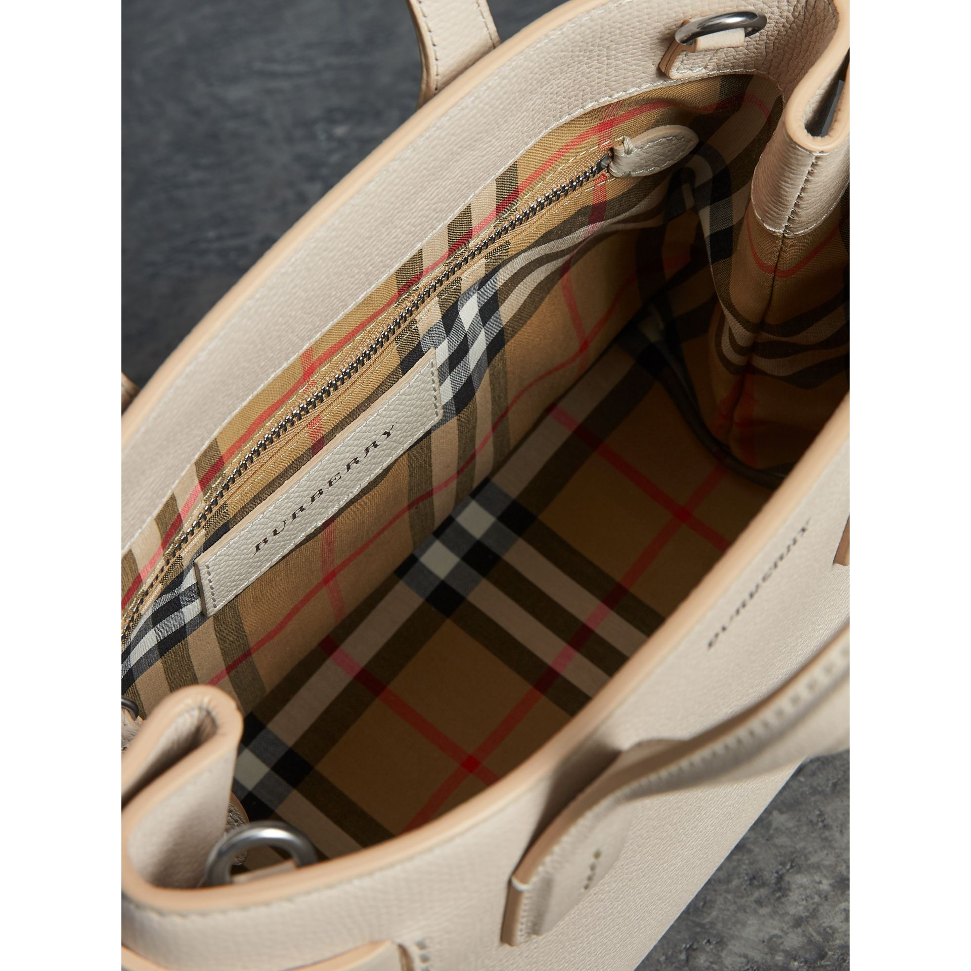 The Small Banner in Leather and Vintage Check in Limestone - Women | Burberry Singapore - gallery image 5