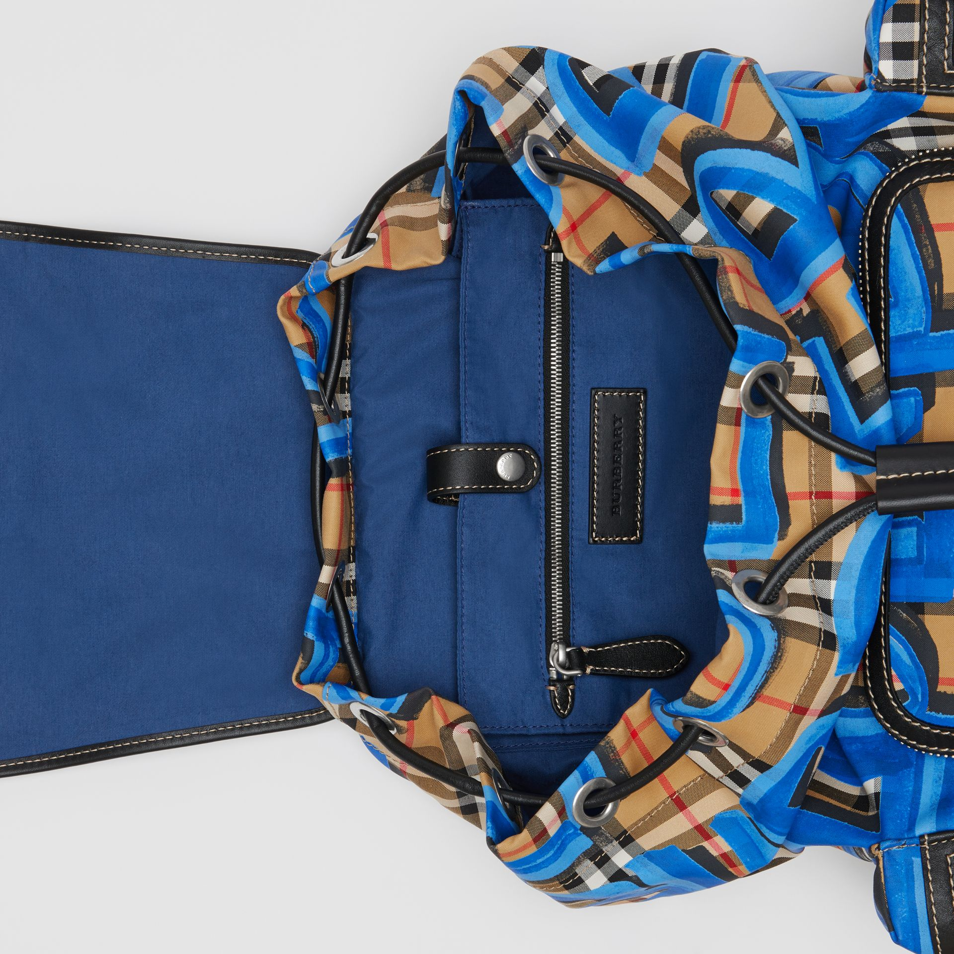 The Large Rucksack in Graffiti Print Vintage Check in Canvas Blue/antique Yellow | Burberry - gallery image 3
