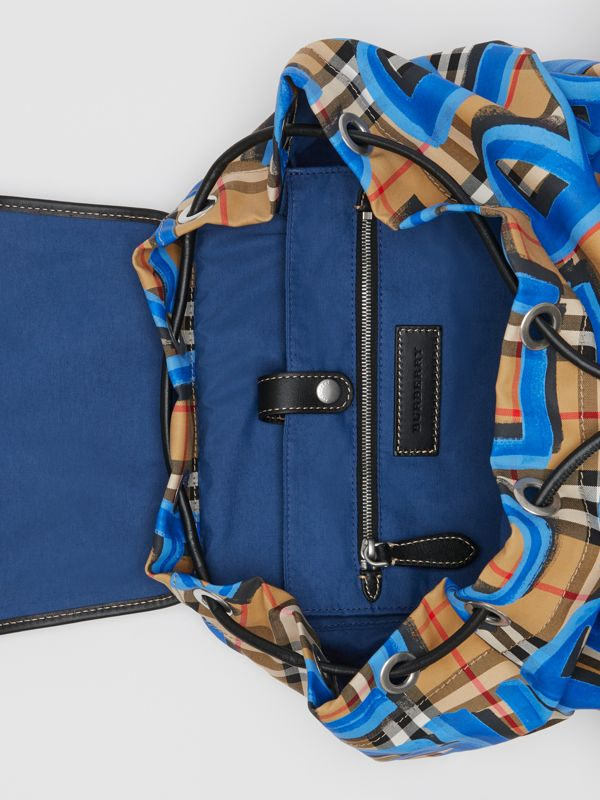 The Large Rucksack in Graffiti Print Vintage Check in Canvas Blue/antique Yellow | Burberry - cell image 3