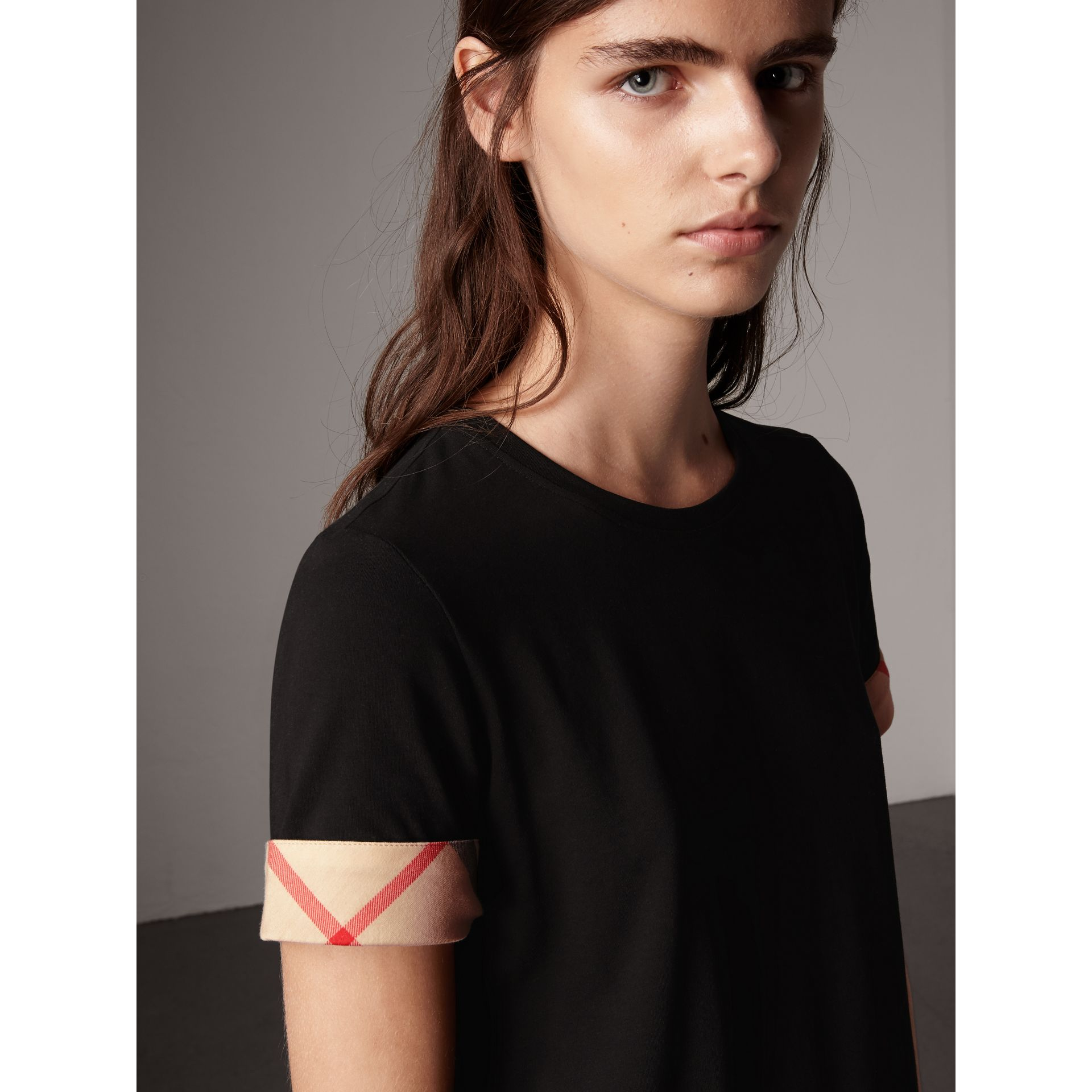 Check Cuff Stretch Cotton T-Shirt in Black - Women | Burberry - gallery image 1