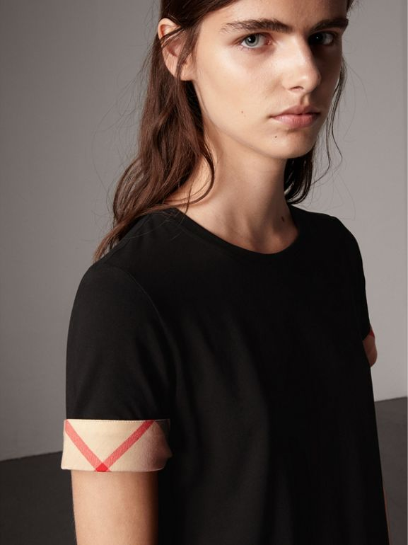 Check Cuff Stretch Cotton T-Shirt in Black - Women | Burberry United Kingdom - cell image 1