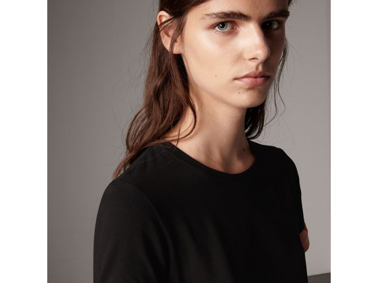 Check Cuff Stretch Cotton T-Shirt in Black - Women | Burberry - cell image 1