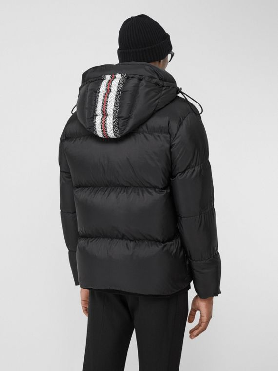 Monogram Stripe Print Oversized Puffer Jacket in Black