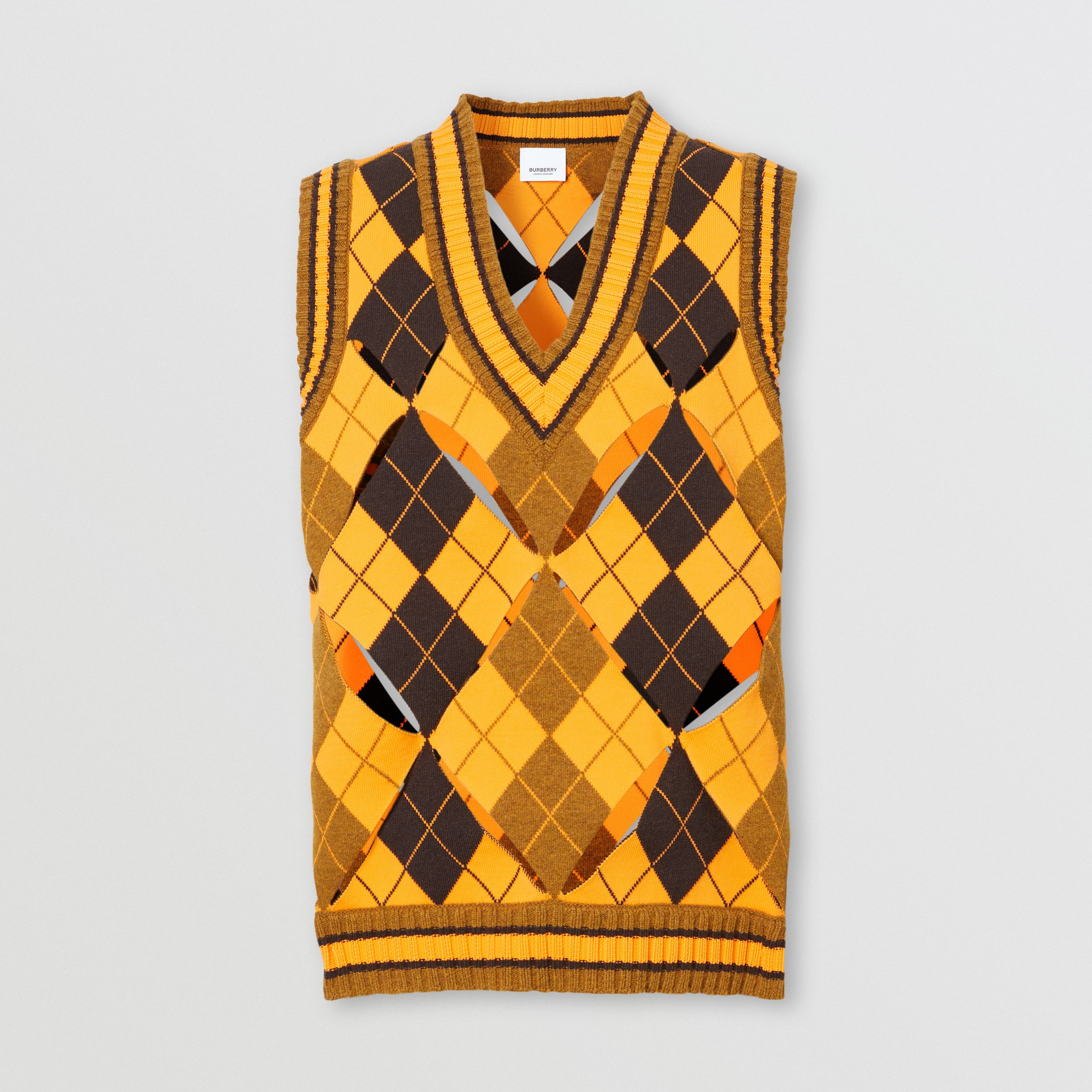 Cut-out Detail Argyle Technical Wool Jacquard Vest in Bright Orange - Women | Burberry - 4