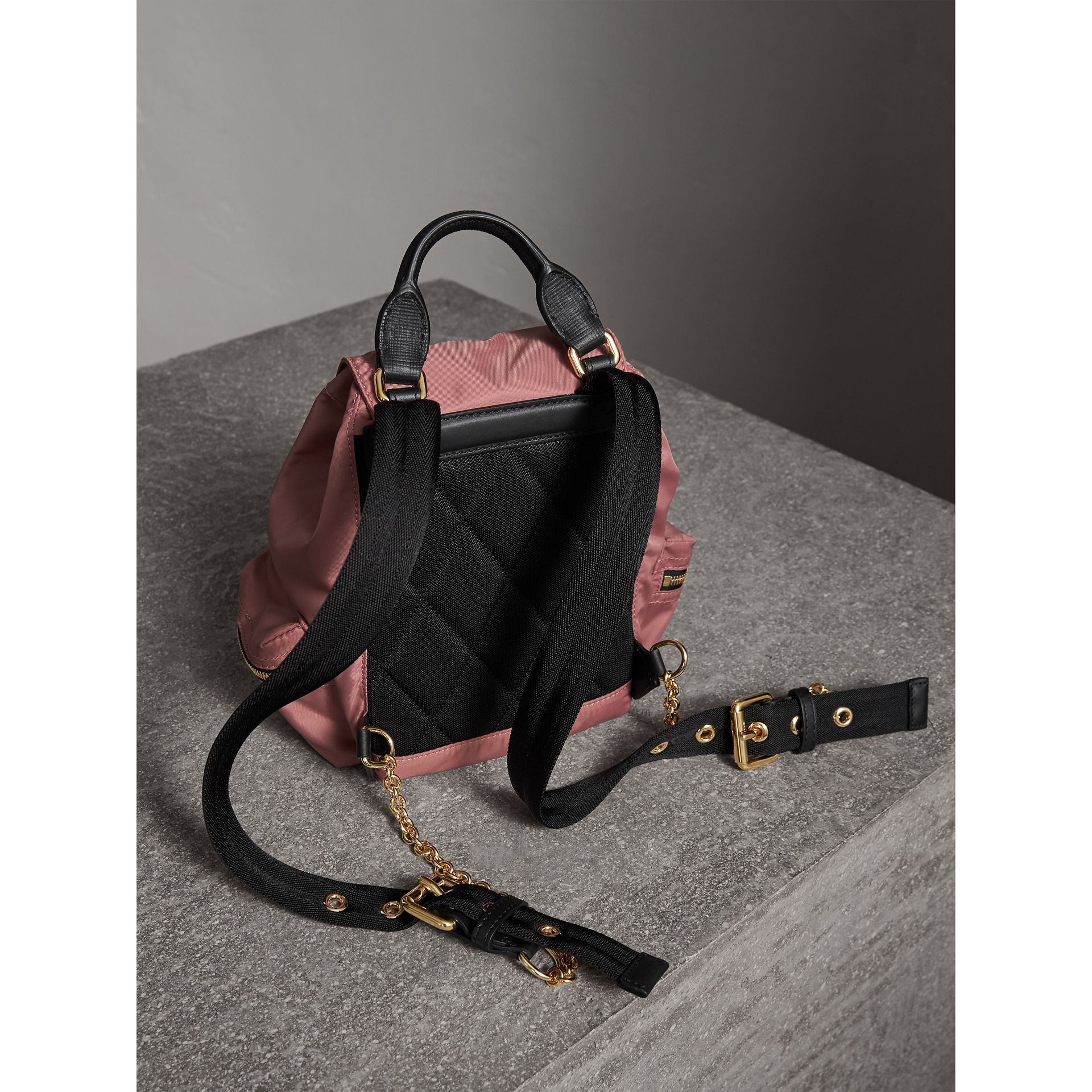 The Small Rucksack in Technical Nylon and Leather in Mauve Pink - Women | Burberry United Kingdom - gallery image 4