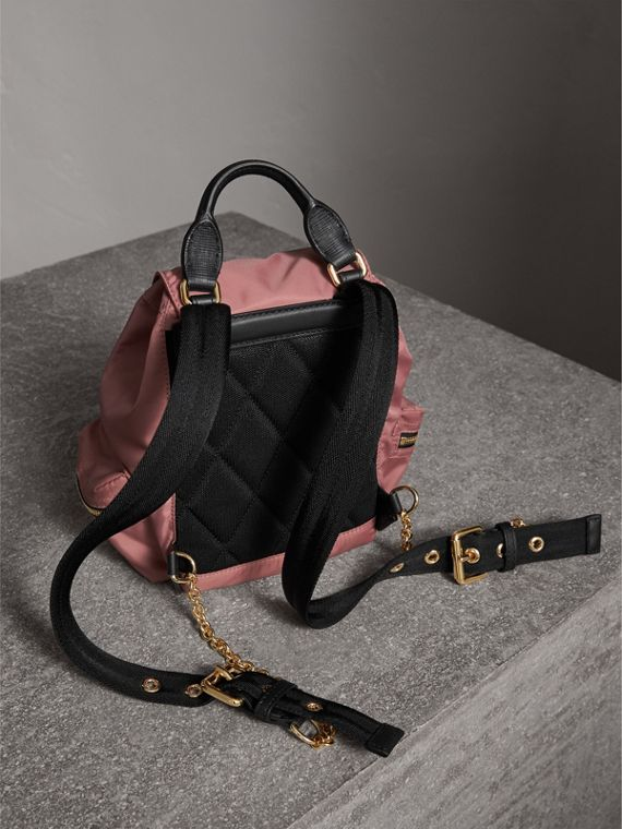 The Small Rucksack in Technical Nylon and Leather in Mauve Pink - Women | Burberry - cell image 3