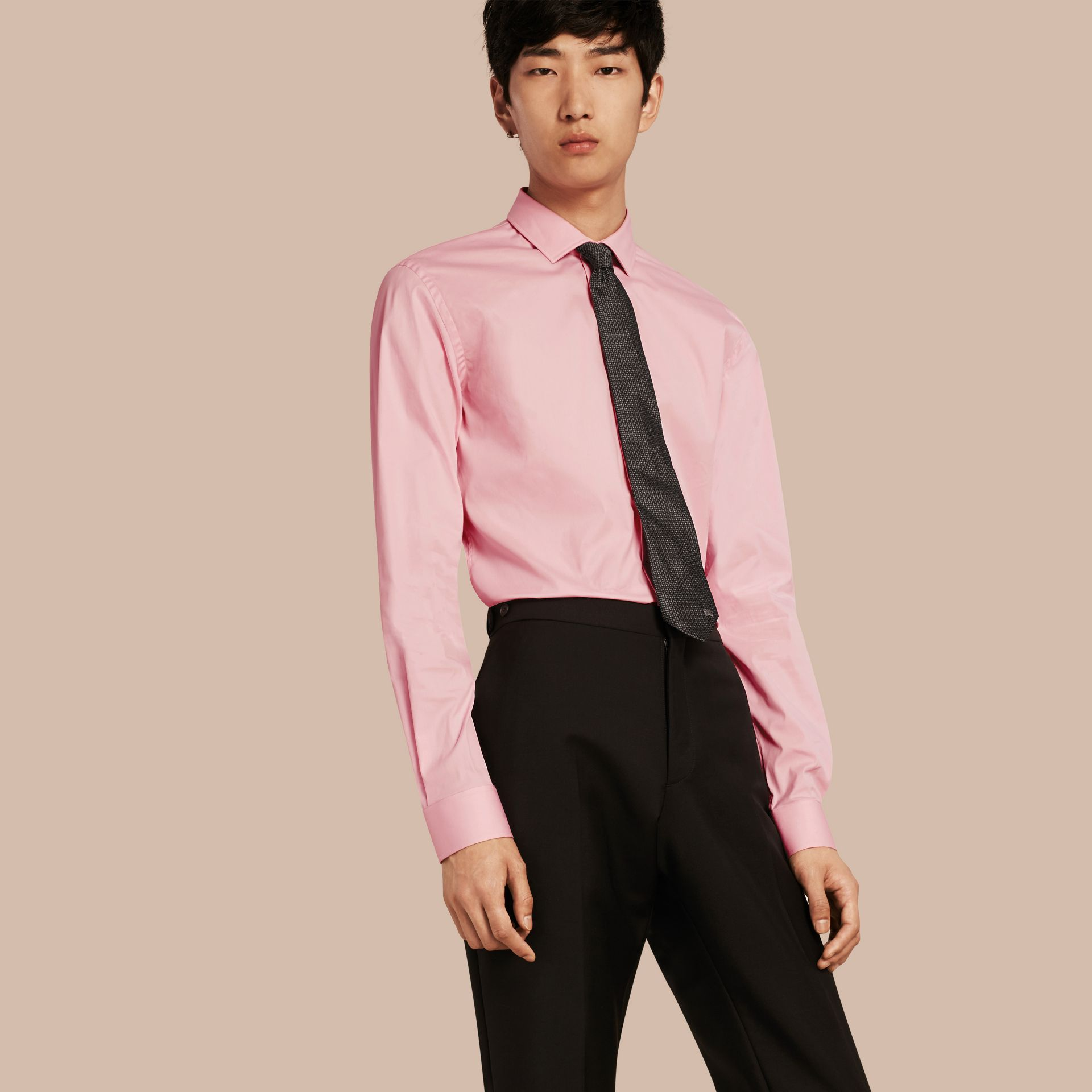 City pink Slim Fit Stretch Cotton Poplin Shirt City Pink - gallery image 1