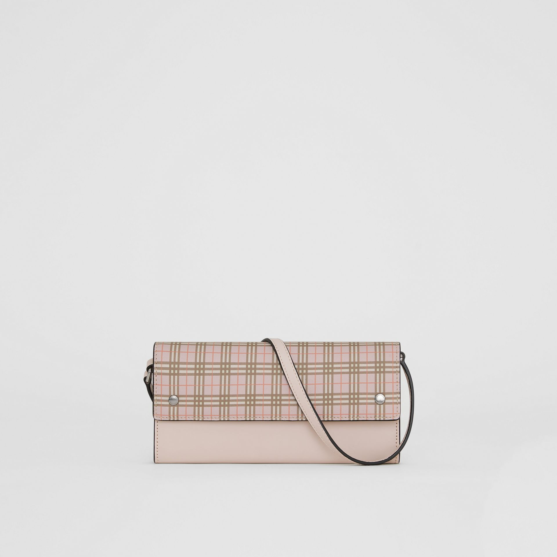 Small Scale Check Wallet with Detachable Strap in Ice Pink - Women | Burberry Canada - gallery image 0