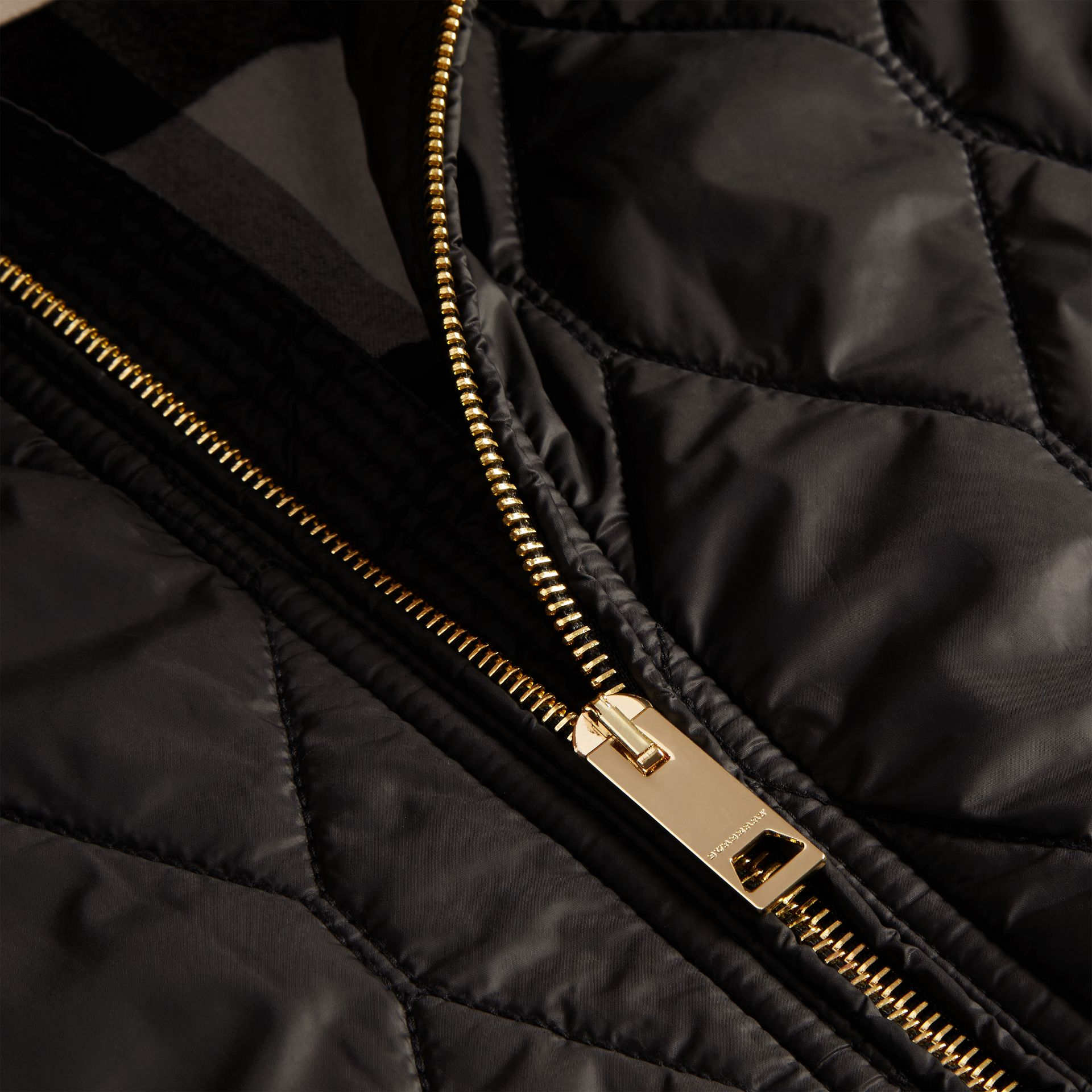 Black Hooded Lightweight Quilted Jacket - gallery image 2