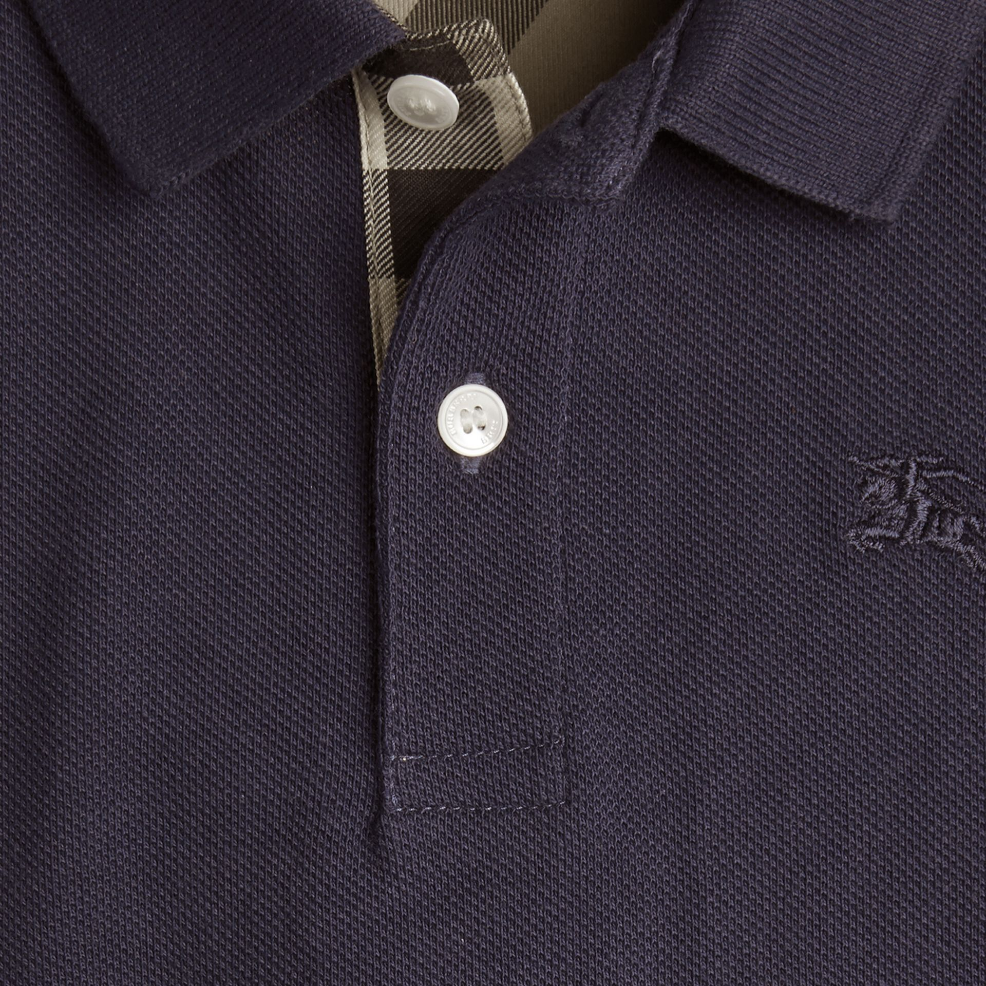 Check Placket Polo Shirt in True Navy - gallery image 2