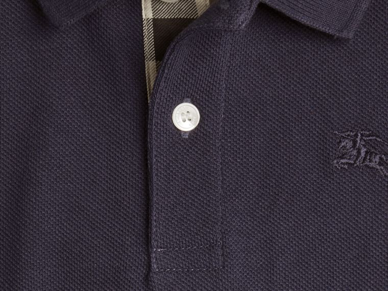 Check Placket Polo Shirt in True Navy - cell image 1