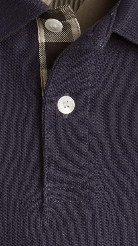 True navy Check Placket Polo Shirt True Navy - Image 2