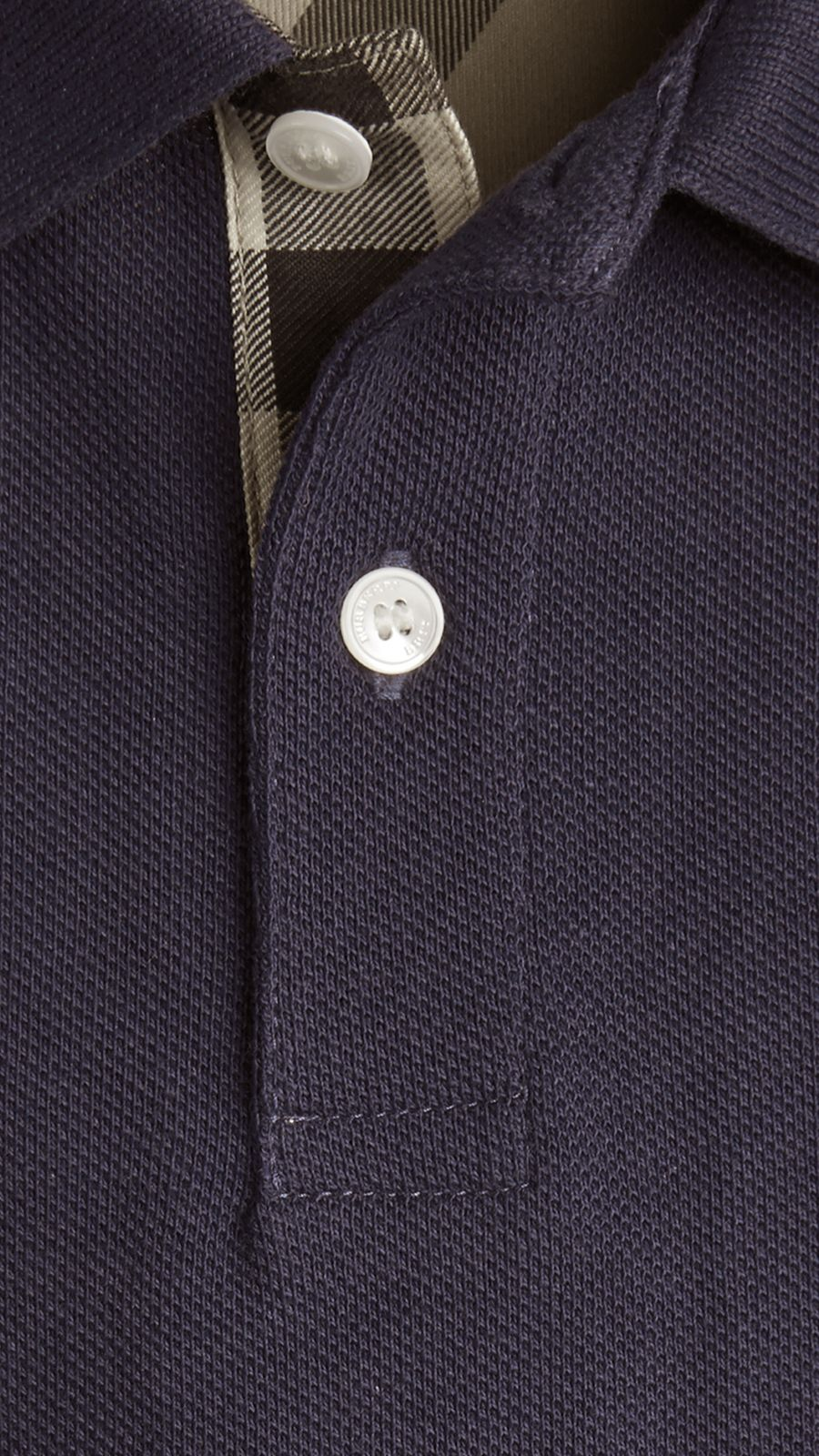 True navy Check Placket Polo Shirt True Navy - Image 2