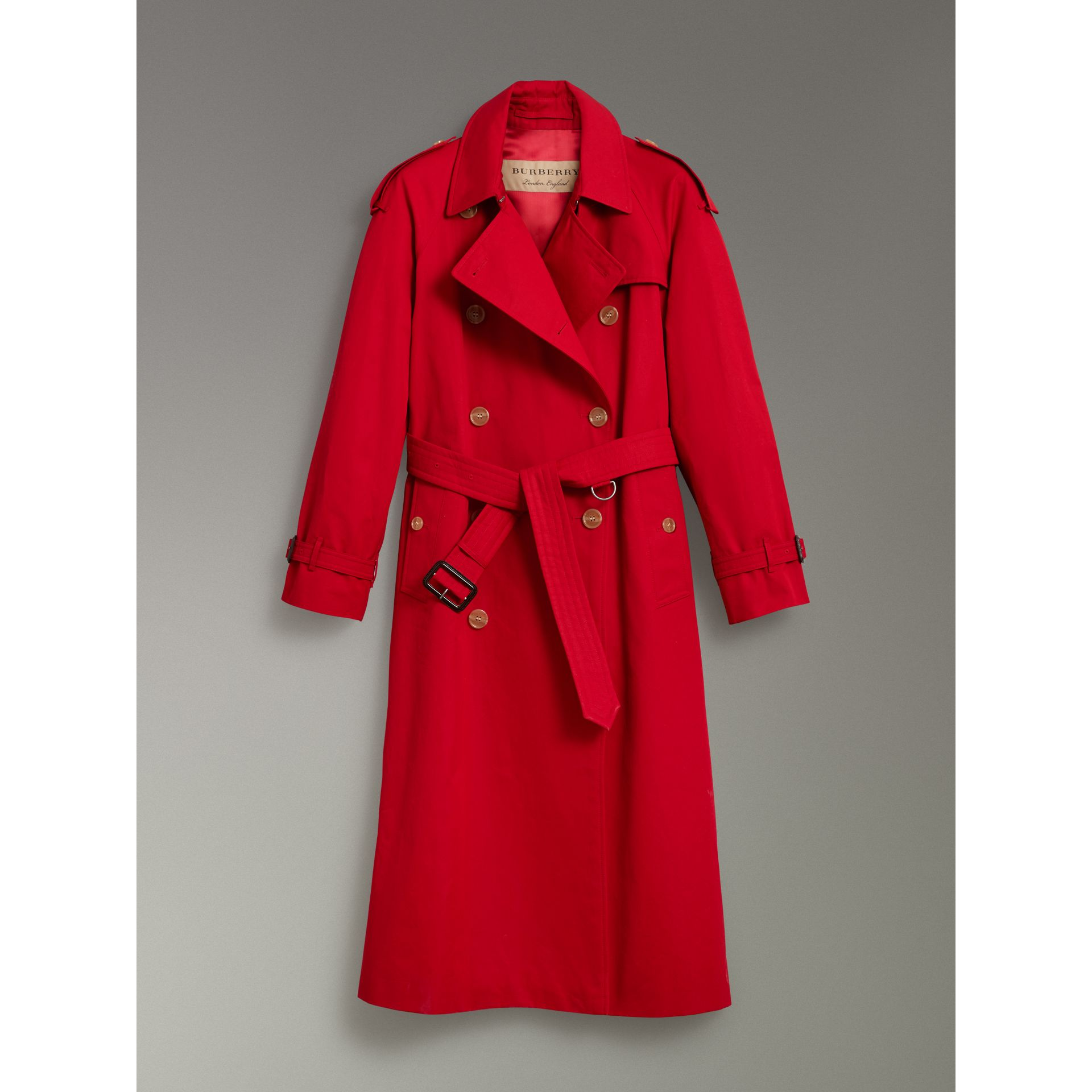 Raglan-sleeve Cotton Trench Coat in Parade Red - Women | Burberry Singapore - gallery image 3