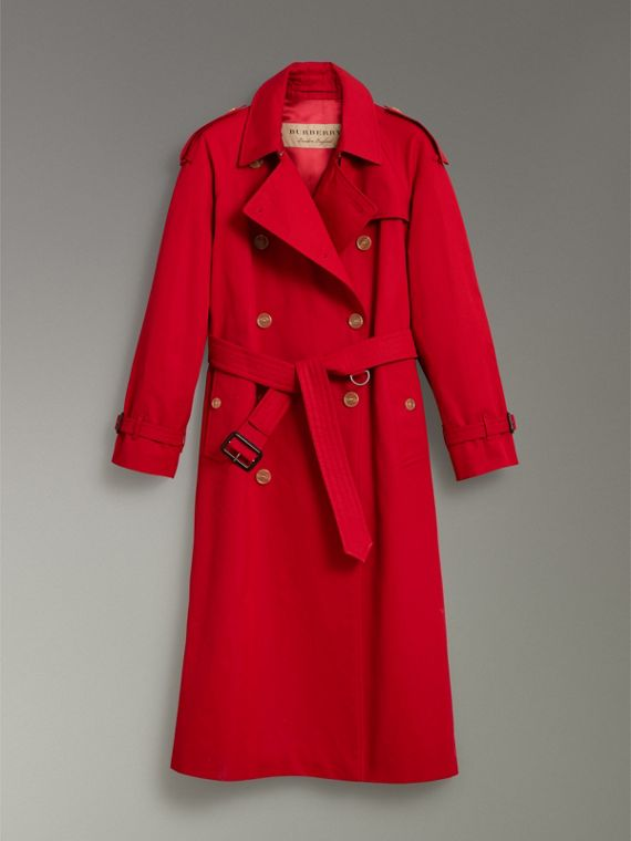 Raglan-sleeve Cotton Trench Coat in Parade Red - Women | Burberry - cell image 3