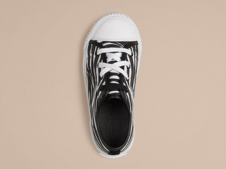 Black / white Zebra Print Canvas Trainers - cell image 2