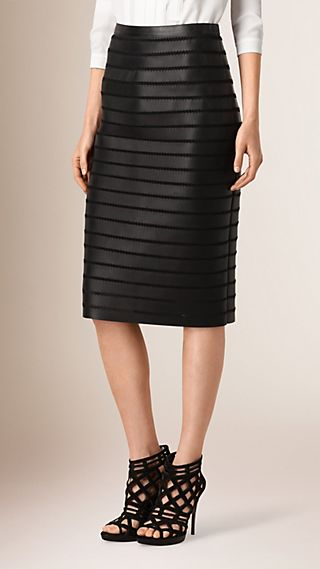 Panelled Bonded Lambskin Pencil Skirt