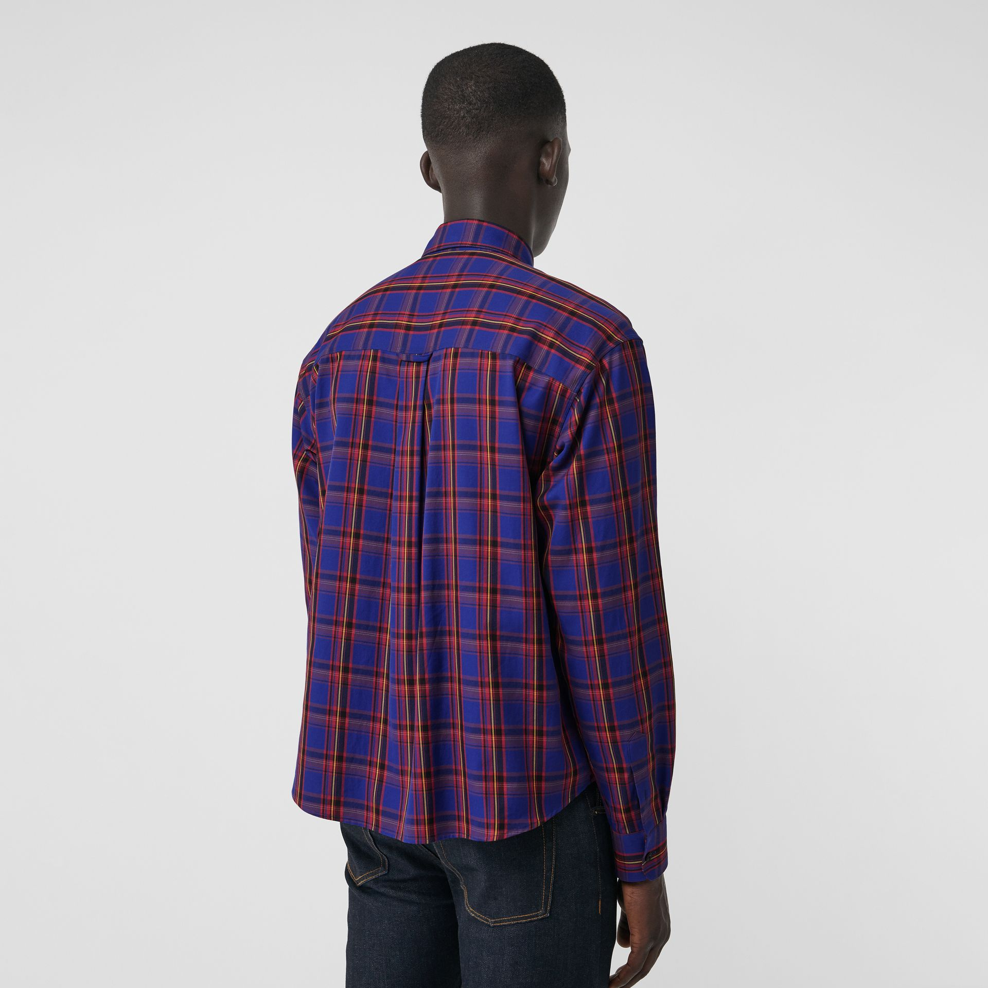 Check Cotton Twill Shirt in Bright Blue - Men | Burberry United States - gallery image 2