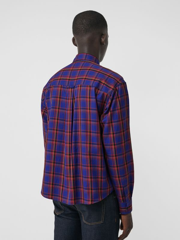 Check Cotton Twill Shirt in Bright Blue - Men   Burberry United States - cell image 2