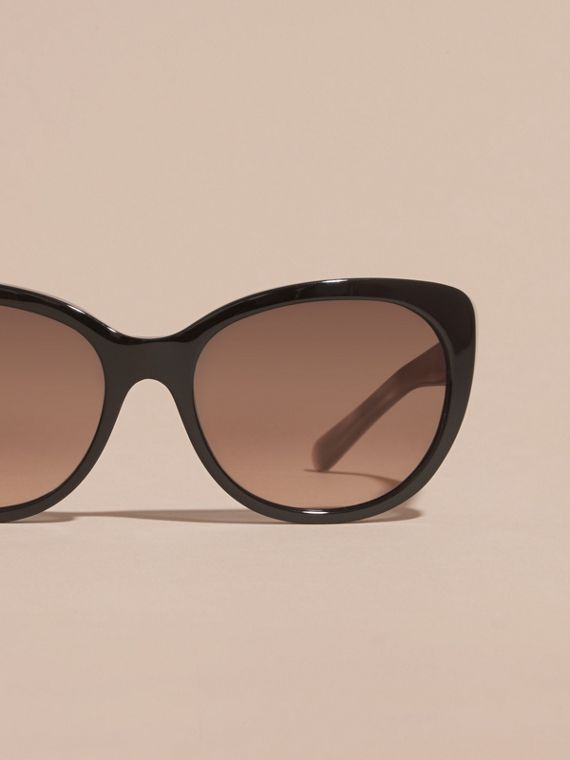 Check Detail Cat-eye Sunglasses in Black - Women | Burberry - cell image 2