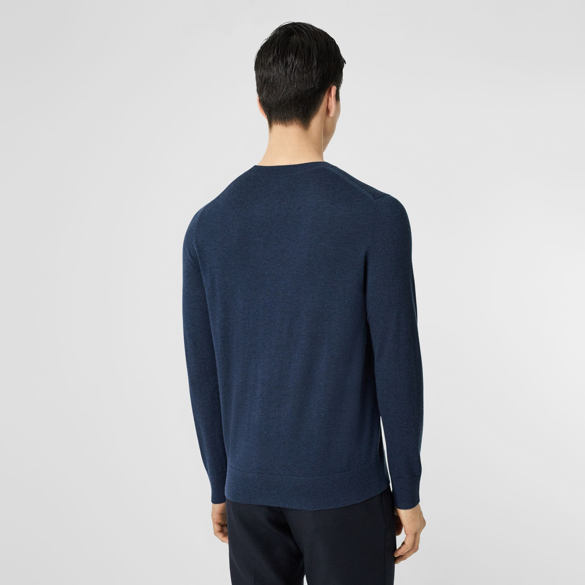 Monogram Motif Cashmere Sweater in Uniform Blue Melange - Men | Burberry - gallery image 2