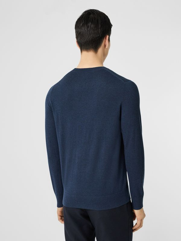 Monogram Motif Cashmere Sweater in Uniform Blue Melange - Men | Burberry - cell image 2