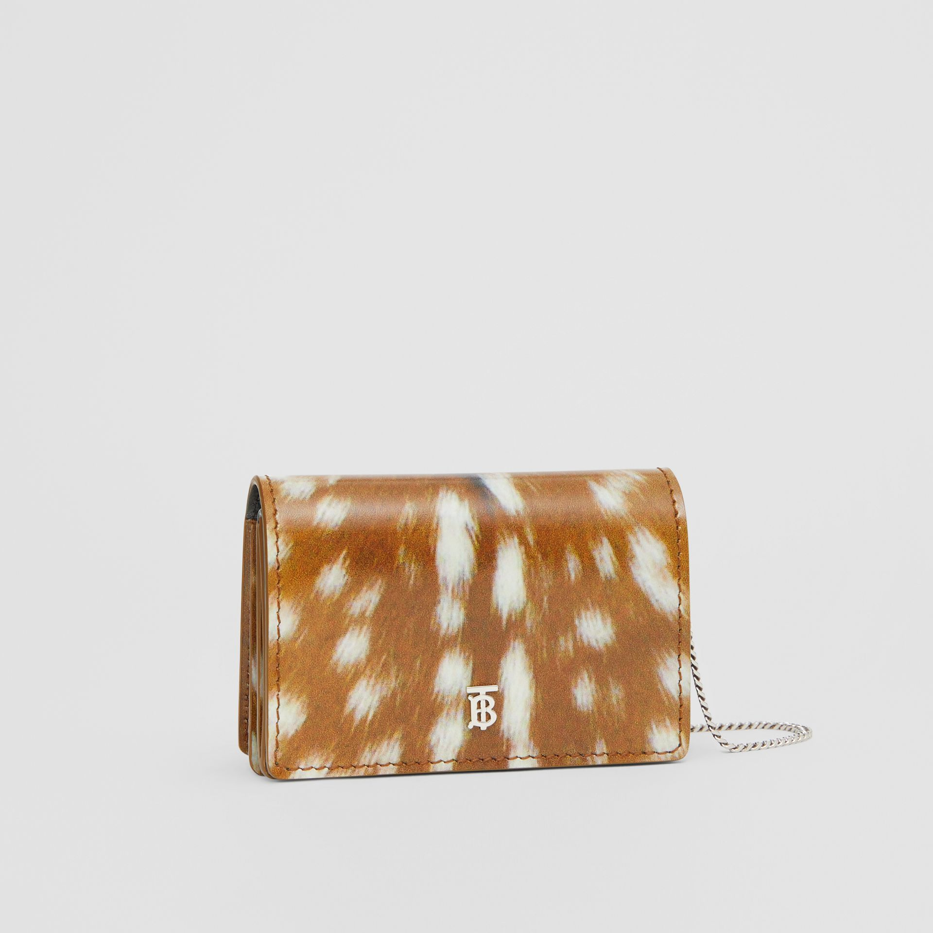 Deer Print Leather Card Case with Detachable Strap in Malt Brown - Women | Burberry - gallery image 6