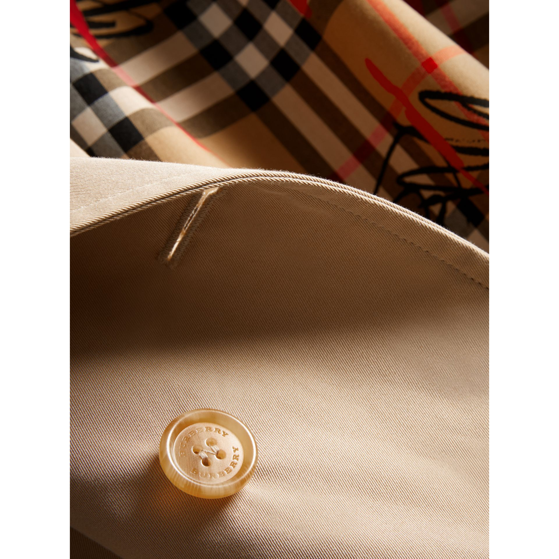 Exaggerated Collar Cotton Gabardine Trench Coat in Honey - Women | Burberry - gallery image 1