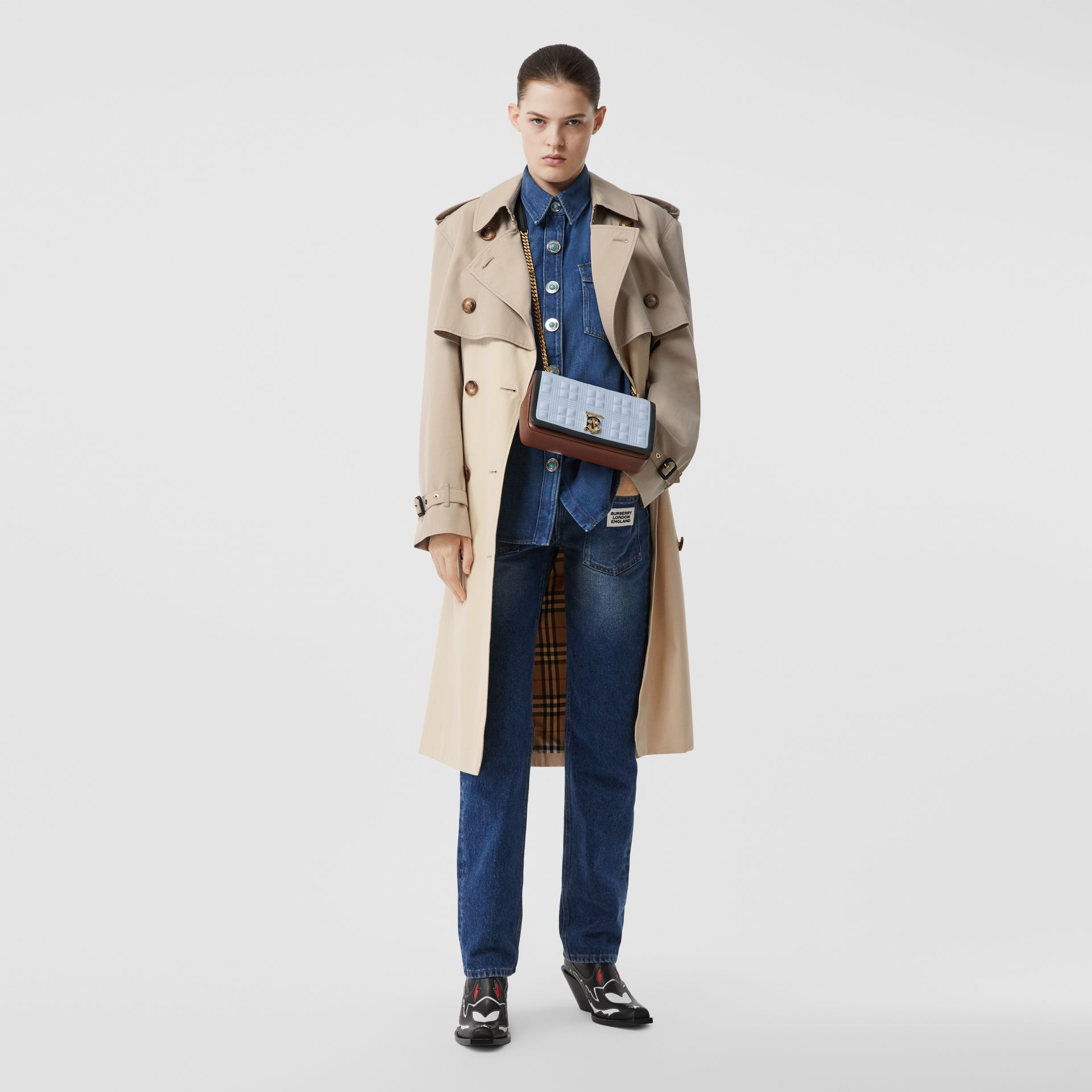Two-tone Reconstructed Trench Coat in Light Sand - Women | Burberry United Kingdom - gallery image 0