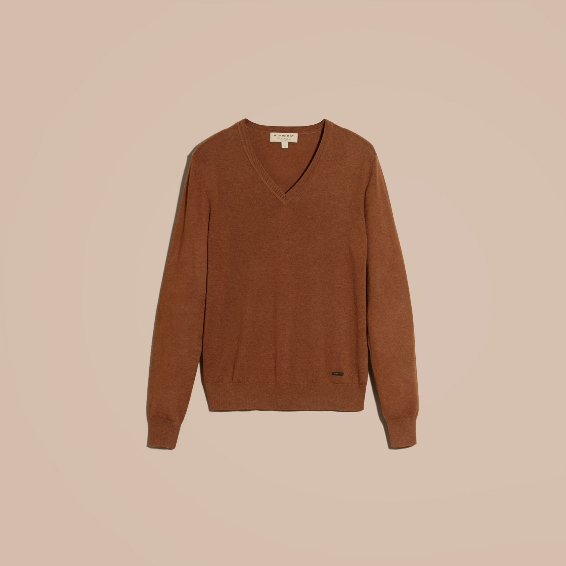 Dark camel Cashmere V-neck Sweater Dark Camel - gallery image 4