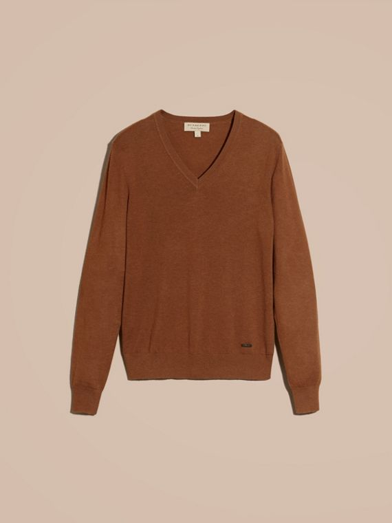 Dark camel Cashmere V-neck Sweater Dark Camel - cell image 3