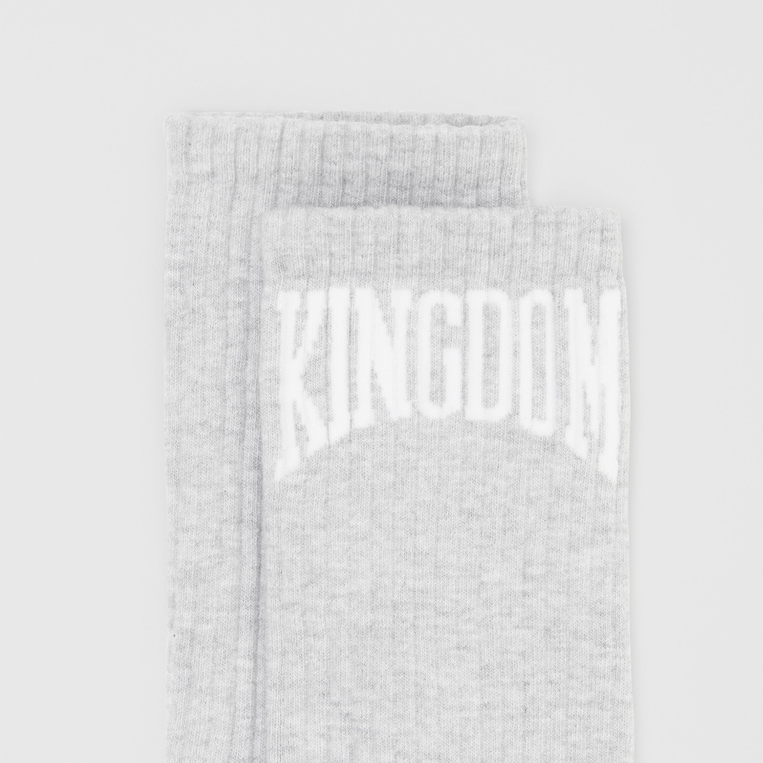 Kingdom Intarsia Cotton Blend Socks in Pebble Grey | Burberry - 2