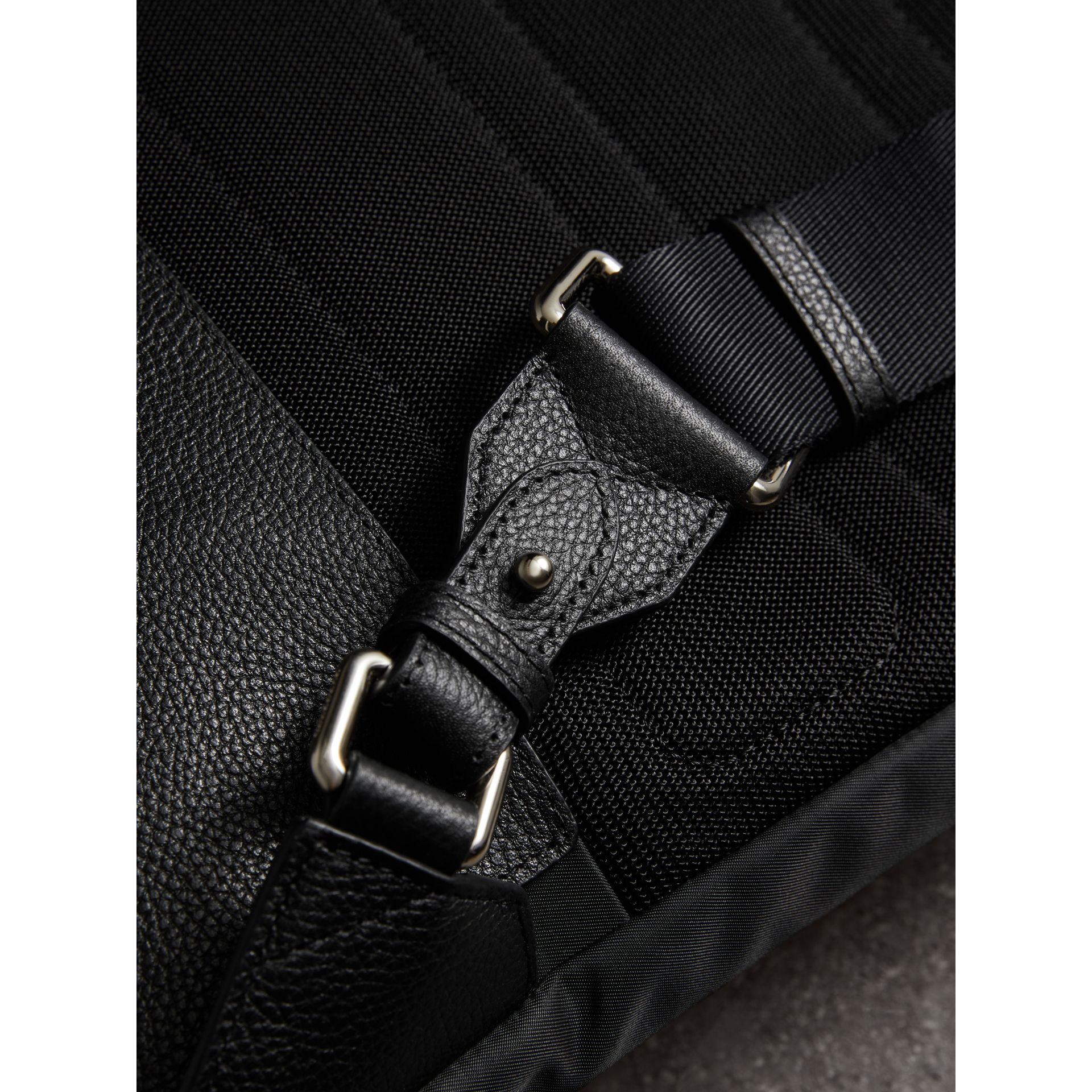 Zip-top Leather Trim Showerproof Backpack in Black - Men | Burberry Australia - gallery image 1