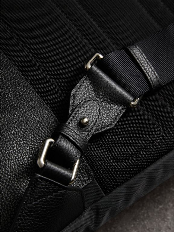 Zip-top Leather Trim Showerproof Backpack in Black - Men | Burberry United States - cell image 1