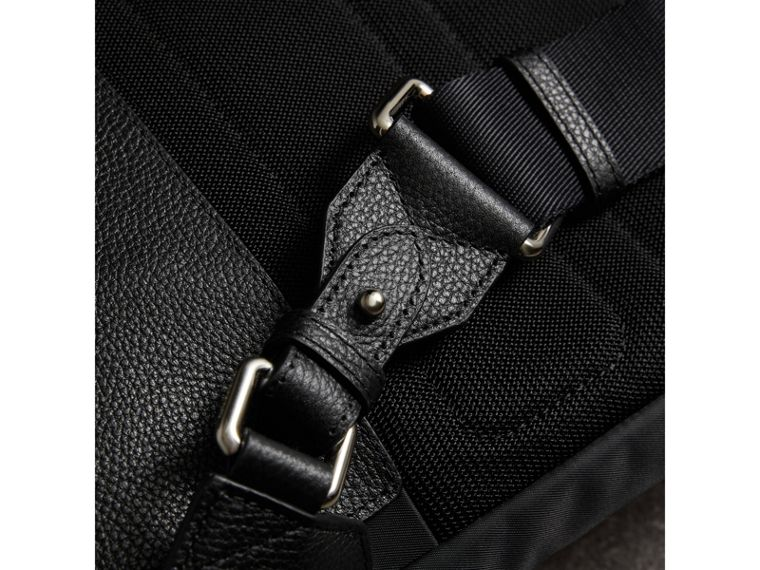 Zip-top Leather Trim Showerproof Backpack in Black - Men | Burberry - cell image 1